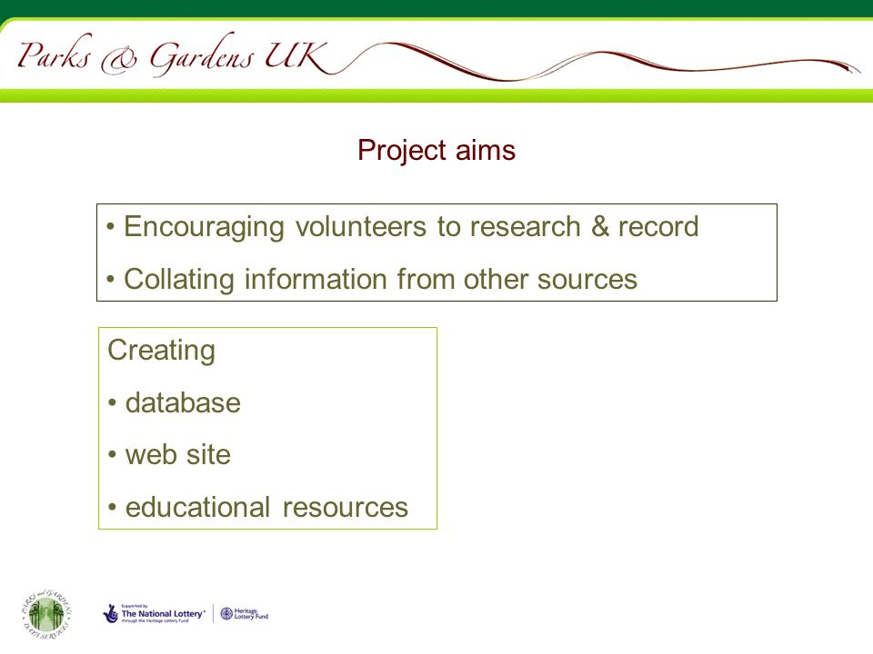 Project aims Encouraging volunteers to research & record Collating information from other sources Creating database web site educational resources