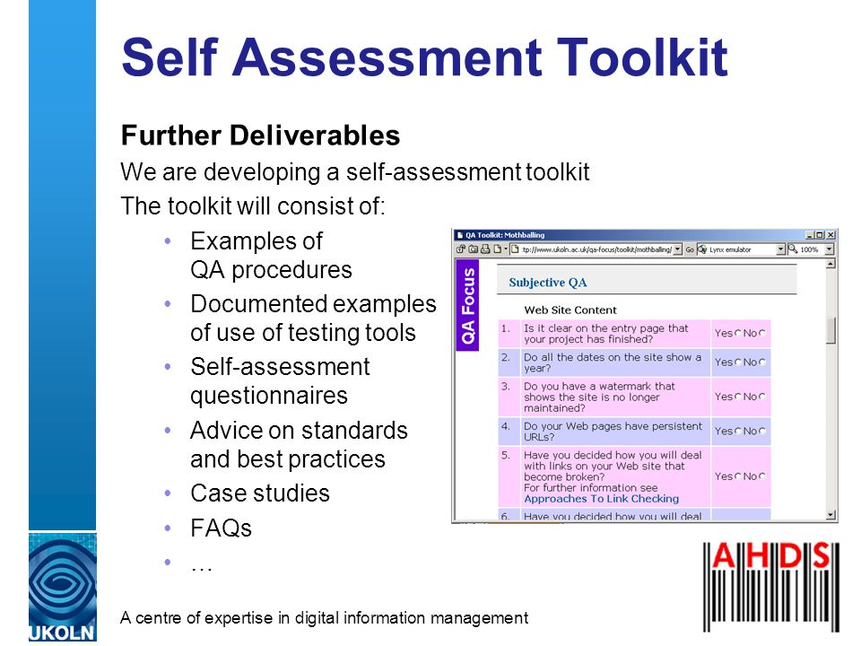A centre of expertise in digital information management Self Assessment Toolkit Further Deliverables We are developing a self-assessment toolkit The t