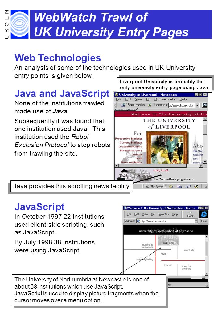 WebWatch Trawl of UK University Entry Pages Web Technologies An analysis of some of the technologies used in UK University entry points is given below.