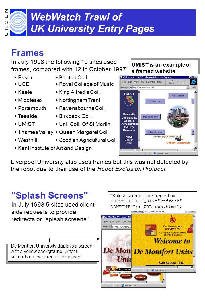 WebWatch Trawl of UK University Entry Pages Frames In July 1998 the following 19 sites used frames, compared with 12 in October 1997: EssexBretton Coll.