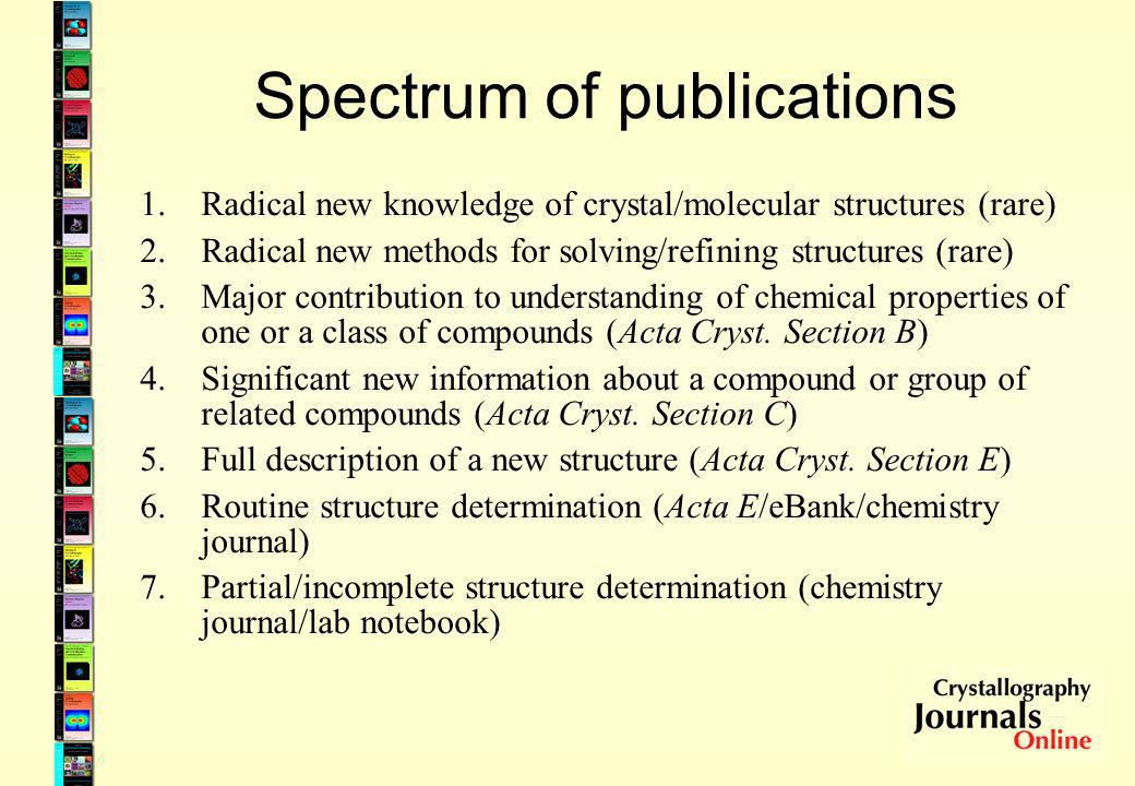 Spectrum of publications 1.Radical new knowledge of crystal/molecular structures (rare) 2.Radical new methods for solving/refining structures (rare) 3