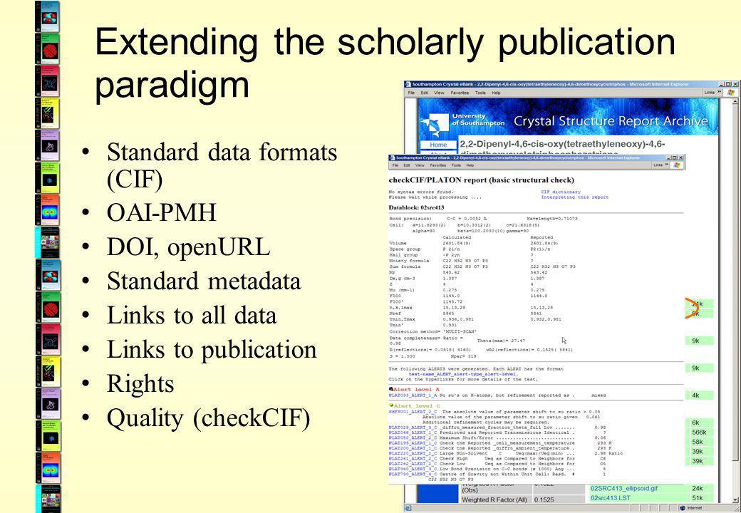 Extending the scholarly publication paradigm Standard data formats (CIF) OAI-PMH DOI, openURL Standard metadata Links to all data Links to publication Rights Quality (checkCIF)
