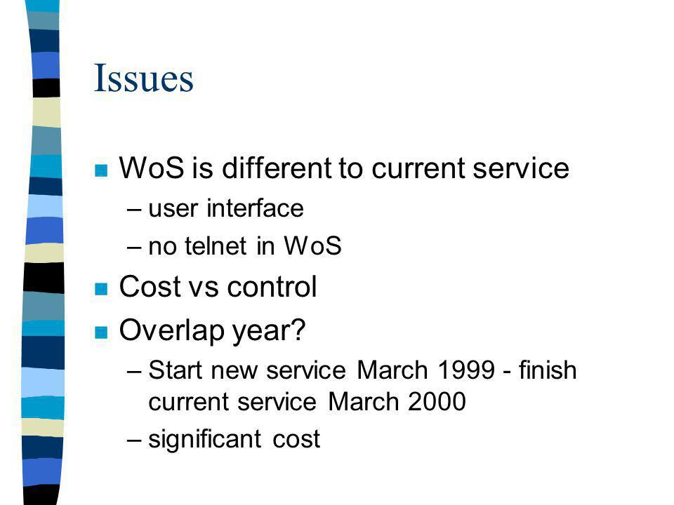 Issues n WoS is different to current service –user interface –no telnet in WoS n Cost vs control n Overlap year.