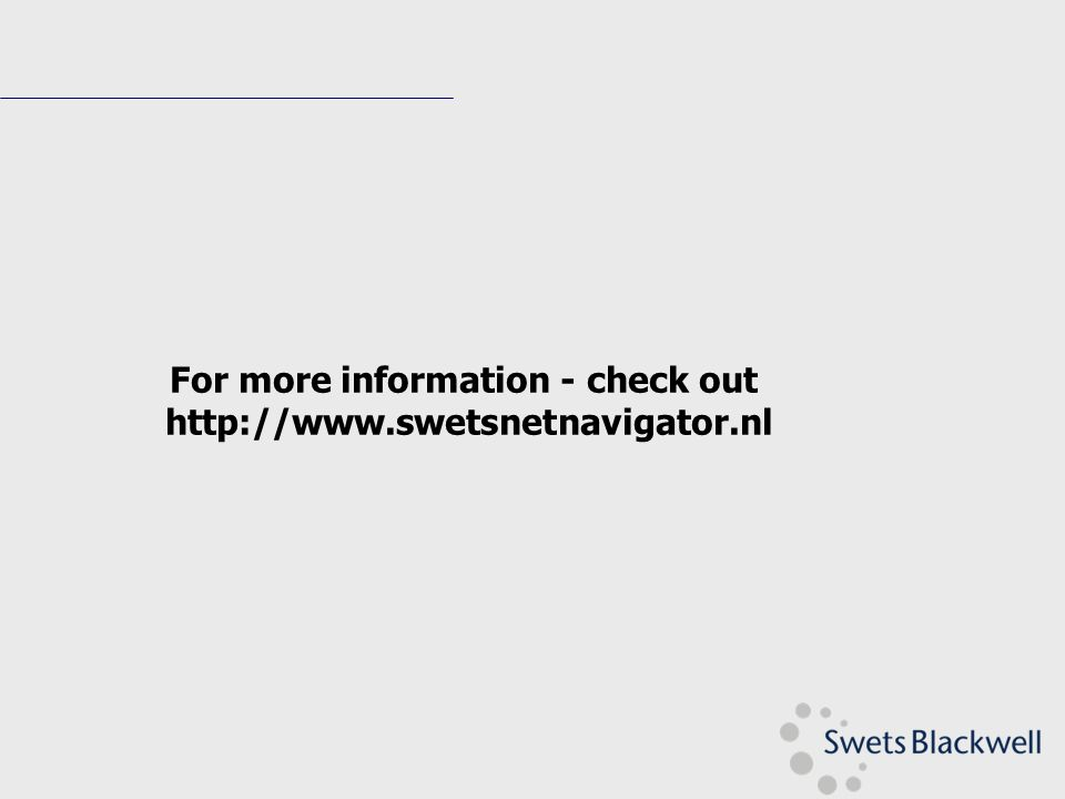 For more information - check out http://www.swetsnetnavigator.nl