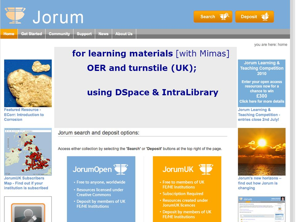 for learning materials [with Mimas] OER and turnstile (UK); using DSpace & IntraLibrary