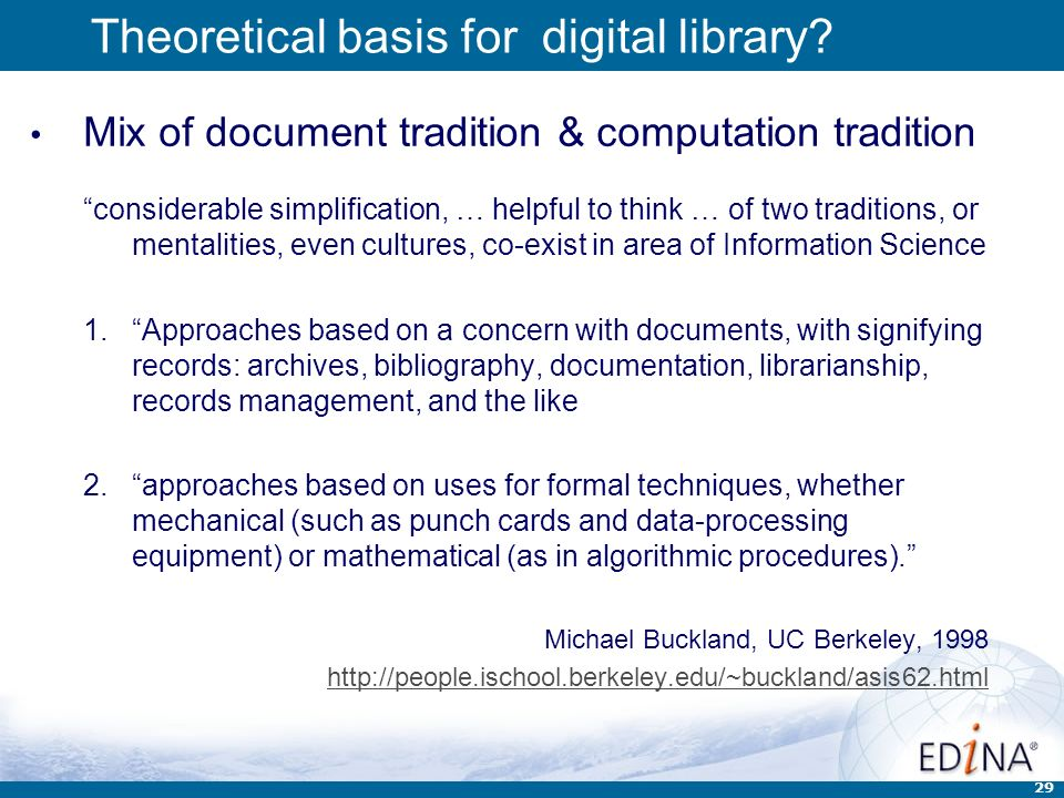 29 Theoretical basis for digital library.