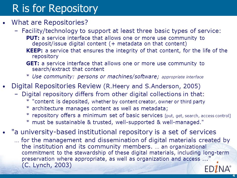 4 R is for Repository What are Repositories.