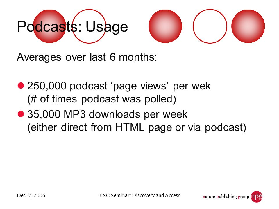 Dec. 7, 2006JISC Seminar: Discovery and Access16 Podcasts: Usage Averages over last 6 months: 250,000 podcast page views per wek (# of times podcast w