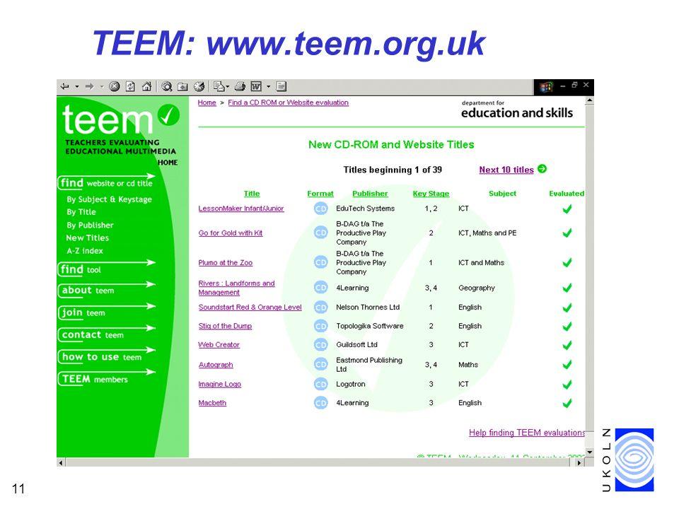 11 TEEM: www.teem.org.uk