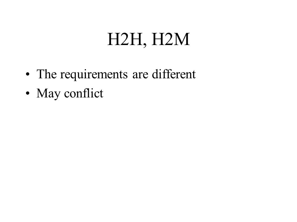 H2H, H2M The requirements are different May conflict