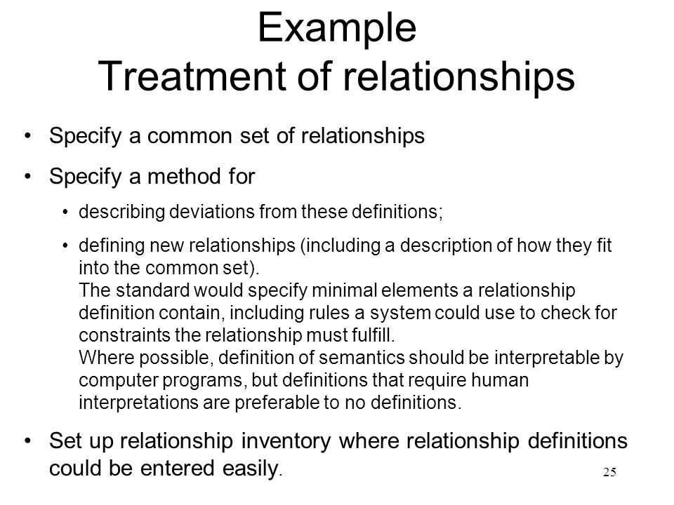 25 Example Treatment of relationships Specify a common set of relationships Specify a method for describing deviations from these definitions; definin