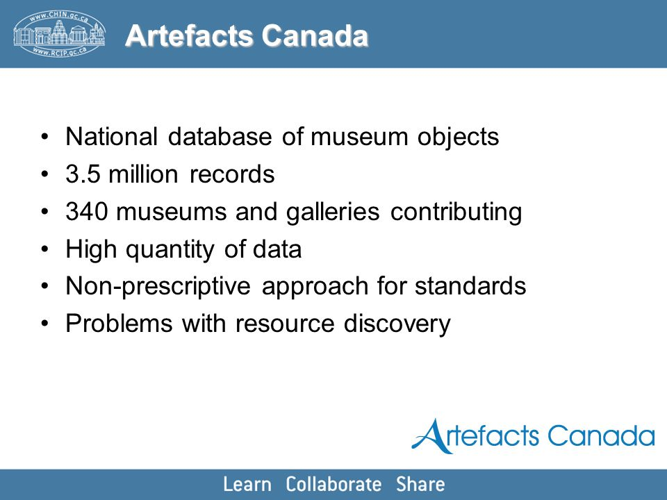National database of museum objects 3.5 million records 340 museums and galleries contributing High quantity of data Non-prescriptive approach for sta