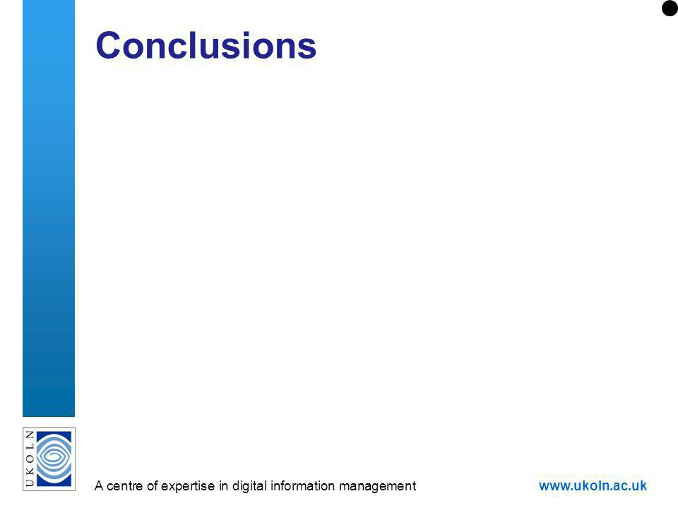 A centre of expertise in digital information managementwww.ukoln.ac.uk Conclusions