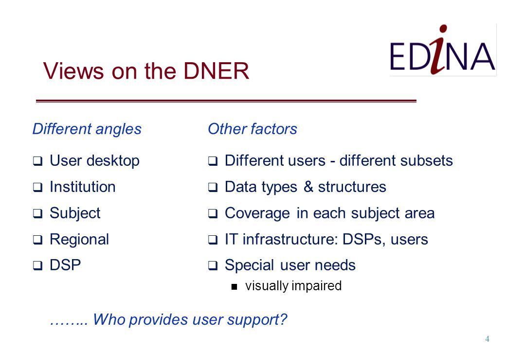 4 Views on the DNER Different angles User desktop Institution Subject Regional DSP Other factors Different users - different subsets Data types & stru