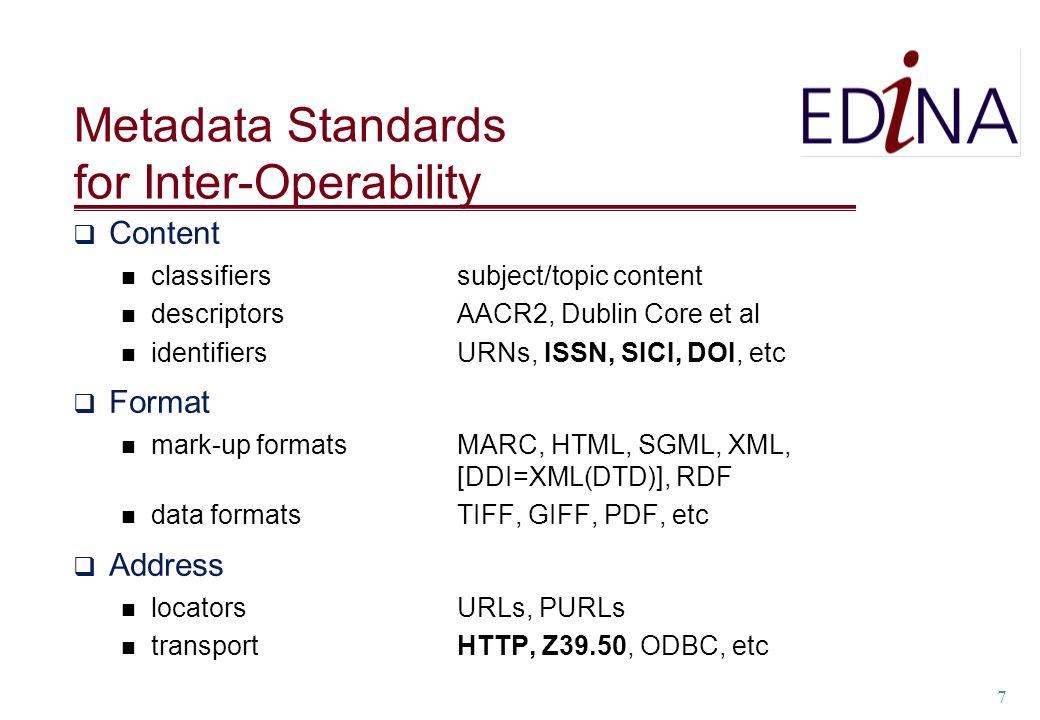 7 Metadata Standards for Inter-Operability Content classifiers subject/topic content descriptors AACR2, Dublin Core et al identifiers URNs, ISSN, SICI