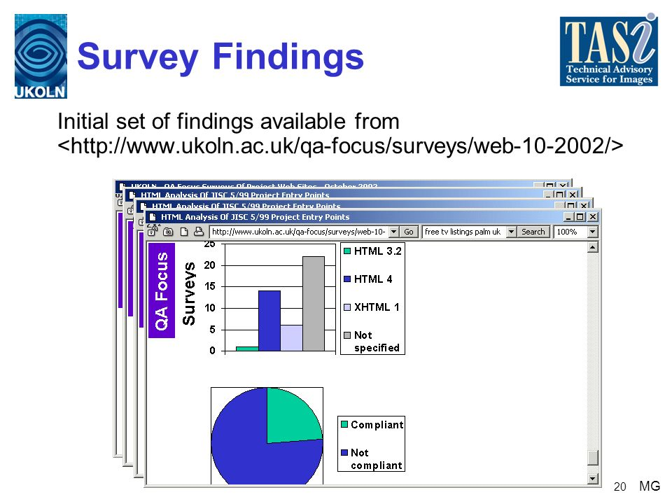 20 Survey Findings Initial set of findings available from MG