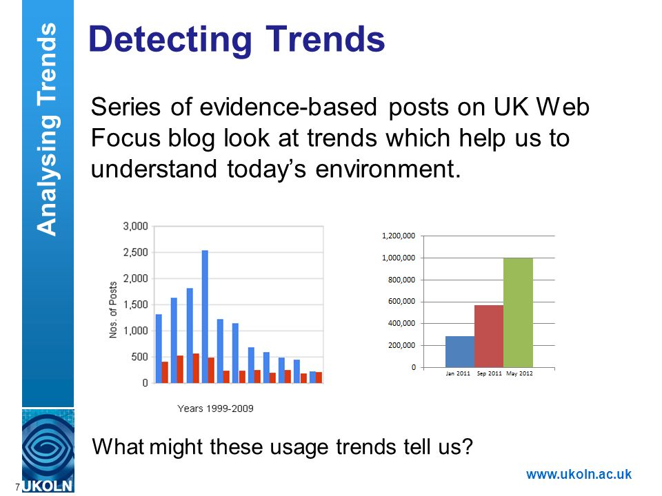 A centre of expertise in digital information managementwww.ukoln.ac.uk Analysing Trends Challenges: Context Blips Lack of a NPOV 8 Blekkos Traffic up by 400% Is Blekkos Traffic Really Going Through The Roof.