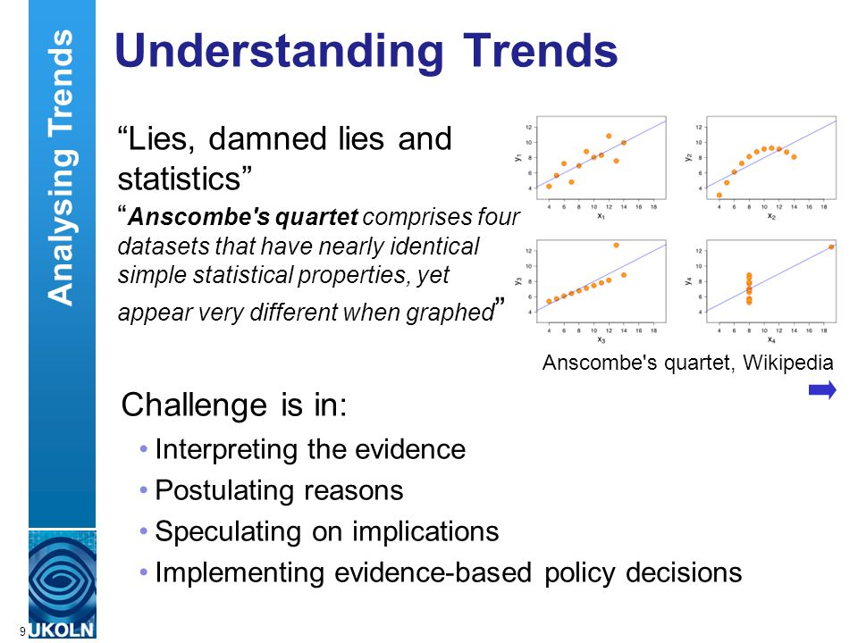 A centre of expertise in digital information managementwww.ukoln.ac.uk Challenge is in: Interpreting the evidence Postulating reasons Speculating on implications Implementing evidence-based policy decisions Understanding Trends 9 Anscombe s quartet, Wikipedia Lies, damned lies and statistics Anscombe s quartet comprises four datasets that have nearly identical simple statistical properties, yet appear very different when graphed Analysing Trends