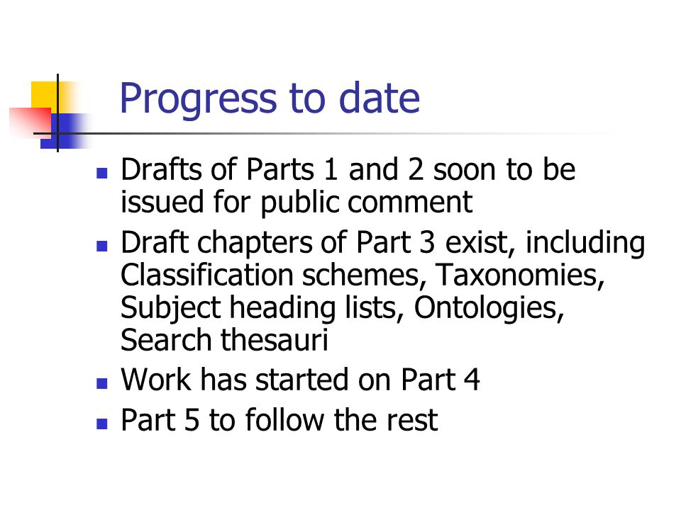 Progress to date Drafts of Parts 1 and 2 soon to be issued for public comment Draft chapters of Part 3 exist, including Classification schemes, Taxonomies, Subject heading lists, Ontologies, Search thesauri Work has started on Part 4 Part 5 to follow the rest