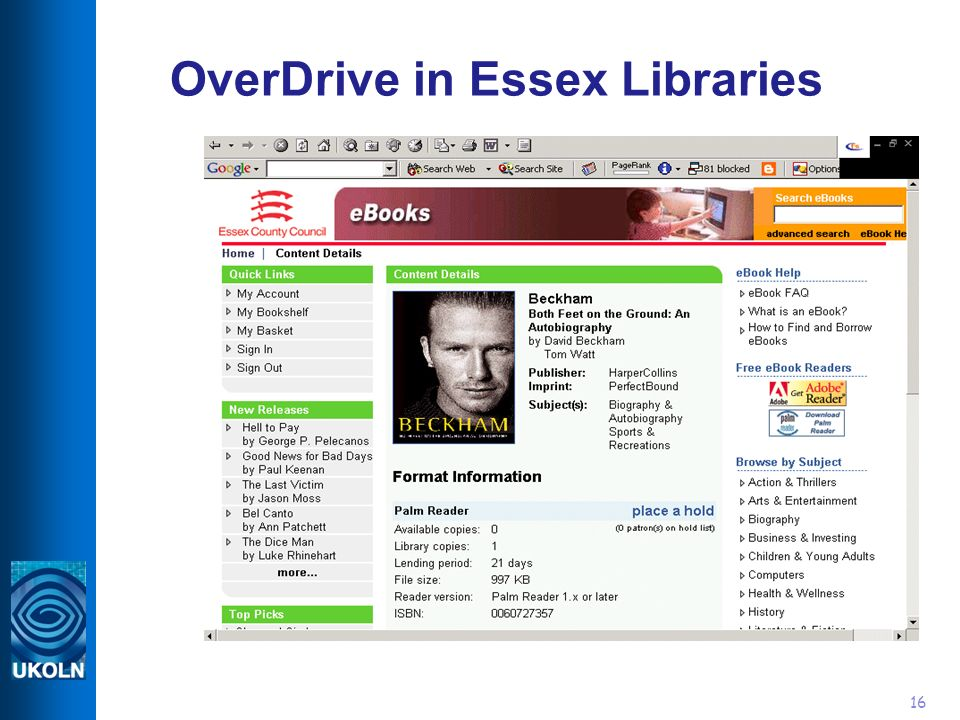 16 OverDrive in Essex Libraries