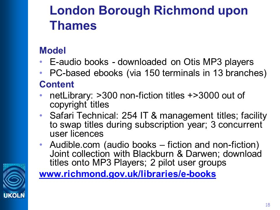 18 London Borough Richmond upon Thames Model E-audio books - downloaded on Otis MP3 players PC-based ebooks (via 150 terminals in 13 branches) Content netLibrary: >300 non-fiction titles +>3000 out of copyright titles Safari Technical: 254 IT & management titles; facility to swap titles during subscription year; 3 concurrent user licences Audible.com (audio books – fiction and non-fiction) Joint collection with Blackburn & Darwen; download titles onto MP3 Players; 2 pilot user groups www.richmond.gov.uk/libraries/e-books