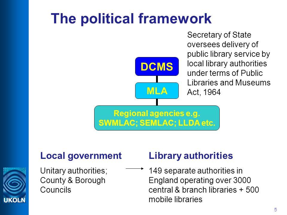5 The political framework DCMS MLA Regional agencies e.g.