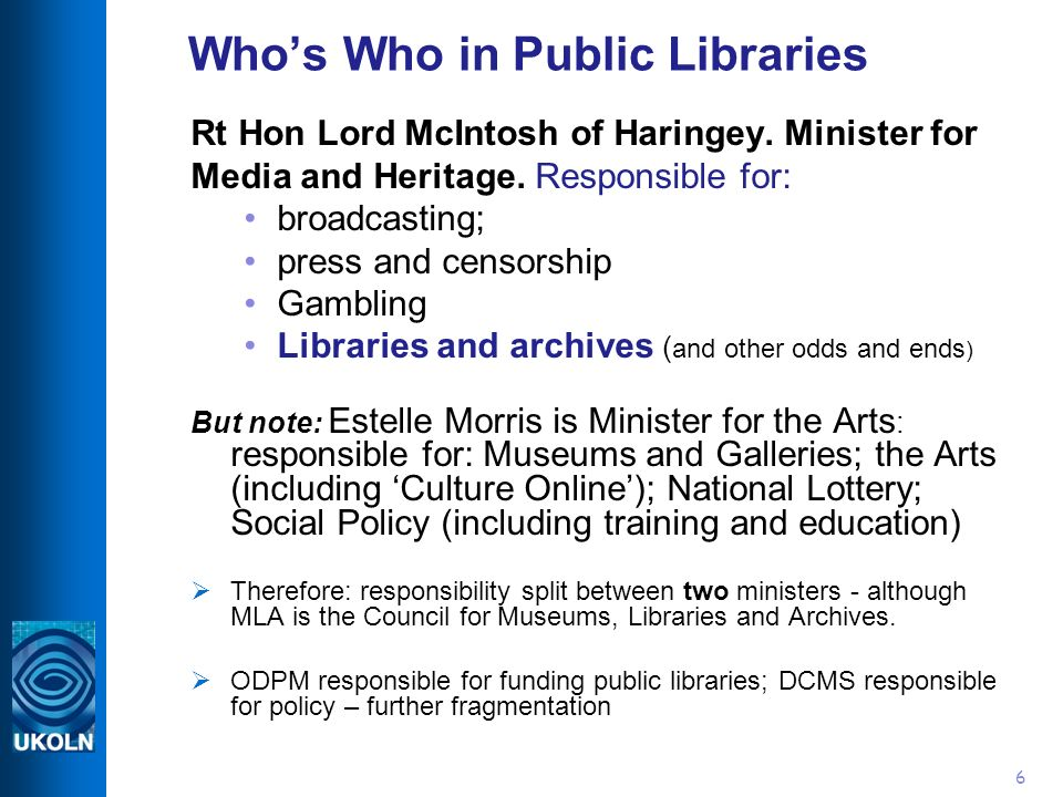 6 Whos Who in Public Libraries Rt Hon Lord McIntosh of Haringey.