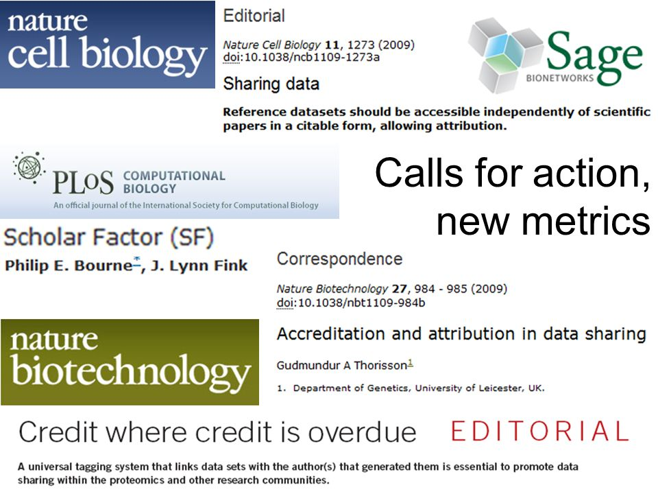 Calls for action, new metrics