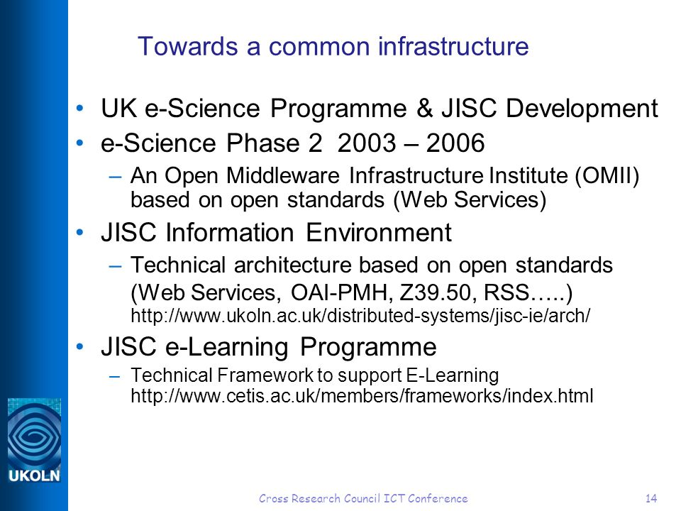 Cross Research Council ICT Conference14 Towards a common infrastructure UK e-Science Programme & JISC Development e-Science Phase 2 2003 – 2006 –An Open Middleware Infrastructure Institute (OMII) based on open standards (Web Services) JISC Information Environment –Technical architecture based on open standards (Web Services, OAI-PMH, Z39.50, RSS…..) http://www.ukoln.ac.uk/distributed-systems/jisc-ie/arch/ JISC e-Learning Programme –Technical Framework to support E-Learning http://www.cetis.ac.uk/members/frameworks/index.html