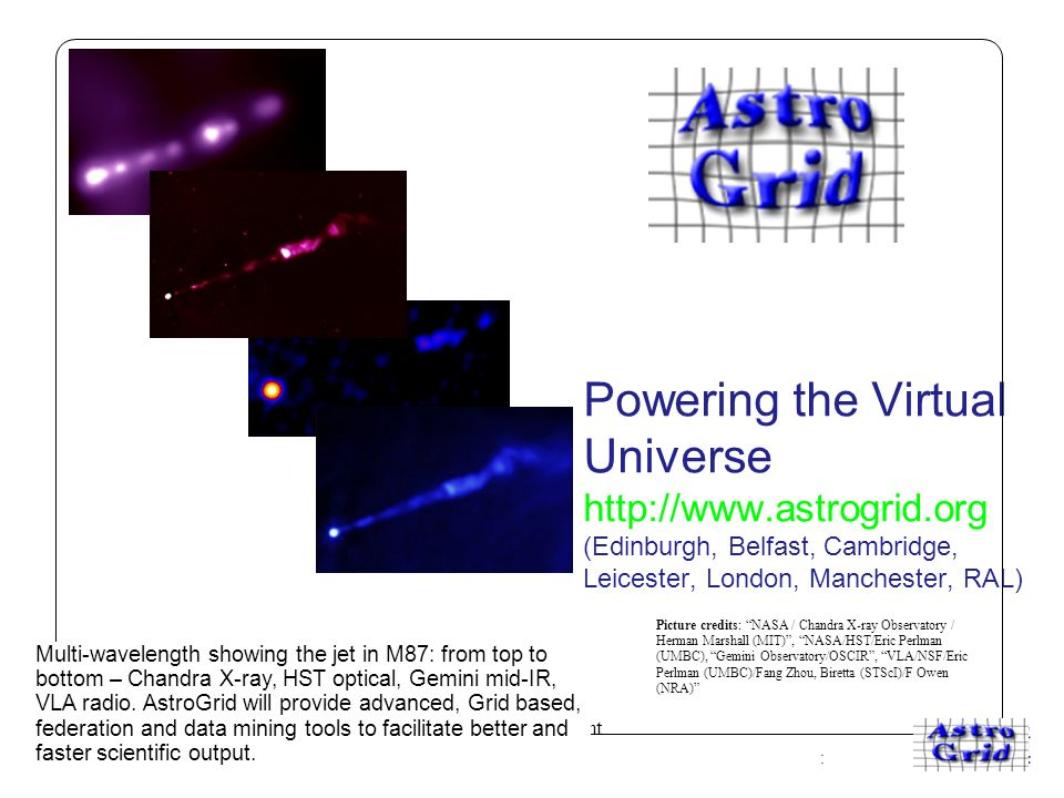 A centre of expertise in digital information management www.ukoln.ac.uk Powering the Virtual Universe http://www.astrogrid.org (Edinburgh, Belfast, Cambridge, Leicester, London, Manchester, RAL) Multi-wavelength showing the jet in M87: from top to bottom – Chandra X-ray, HST optical, Gemini mid-IR, VLA radio.
