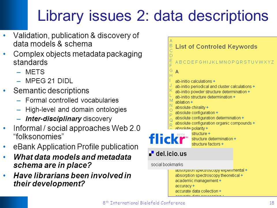 8 th International Bielefeld Conference18 Library issues 2: data descriptions Validation, publication & discovery of data models & schema Complex obje
