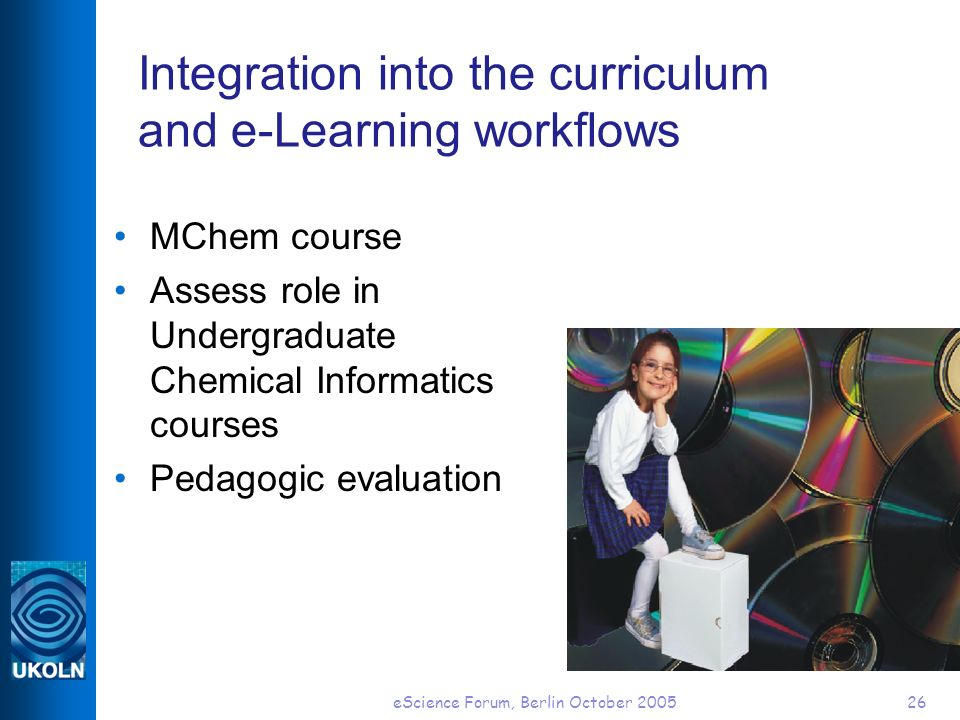 eScience Forum, Berlin October 200526 Integration into the curriculum and e-Learning workflows MChem course Assess role in Undergraduate Chemical Info