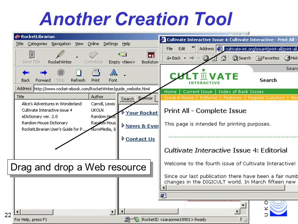 22 Another Creation Tool Drag and drop a Web resource
