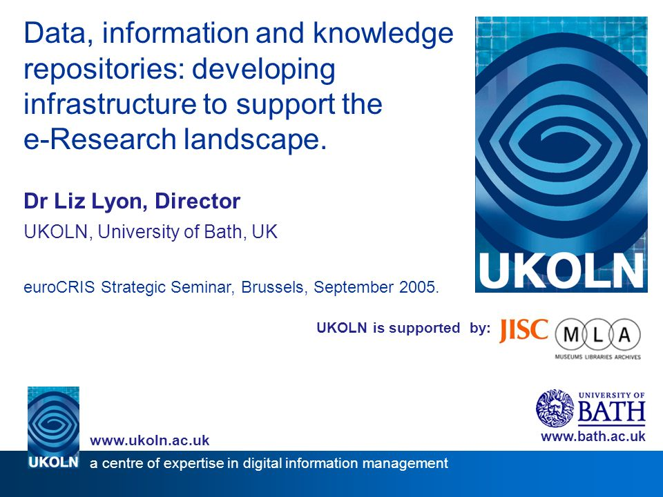 UKOLN is supported by: Data, information and knowledge repositories: developing infrastructure to support the e-Research landscape.