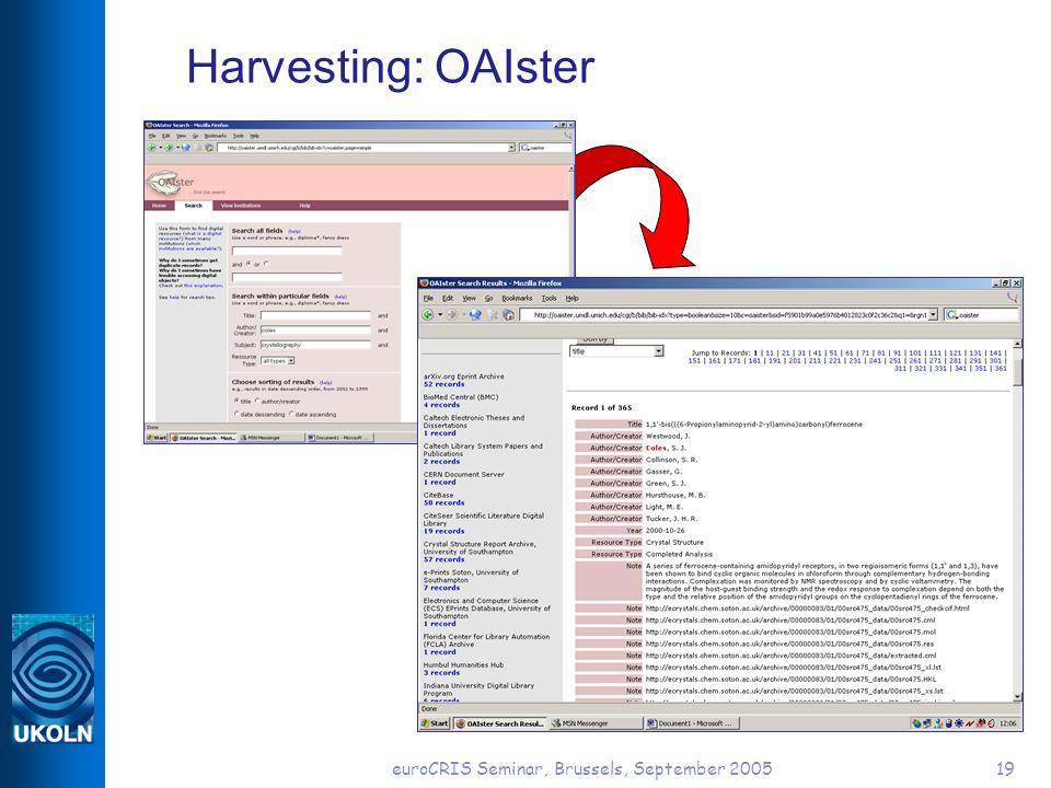 euroCRIS Seminar, Brussels, September 200519 Harvesting: OAIster