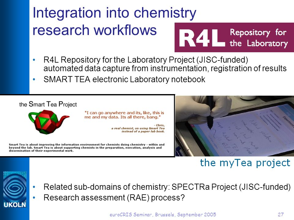euroCRIS Seminar, Brussels, September 200527 Integration into chemistry research workflows R4L Repository for the Laboratory Project (JISC-funded) automated data capture from instrumentation, registration of results SMART TEA electronic Laboratory notebook Related sub-domains of chemistry: SPECTRa Project (JISC-funded) Research assessment (RAE) process?