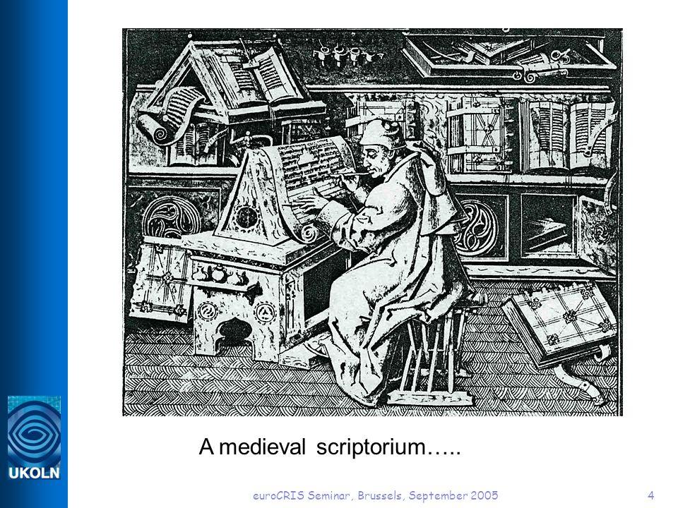 euroCRIS Seminar, Brussels, September 20054 A medieval scriptorium…..