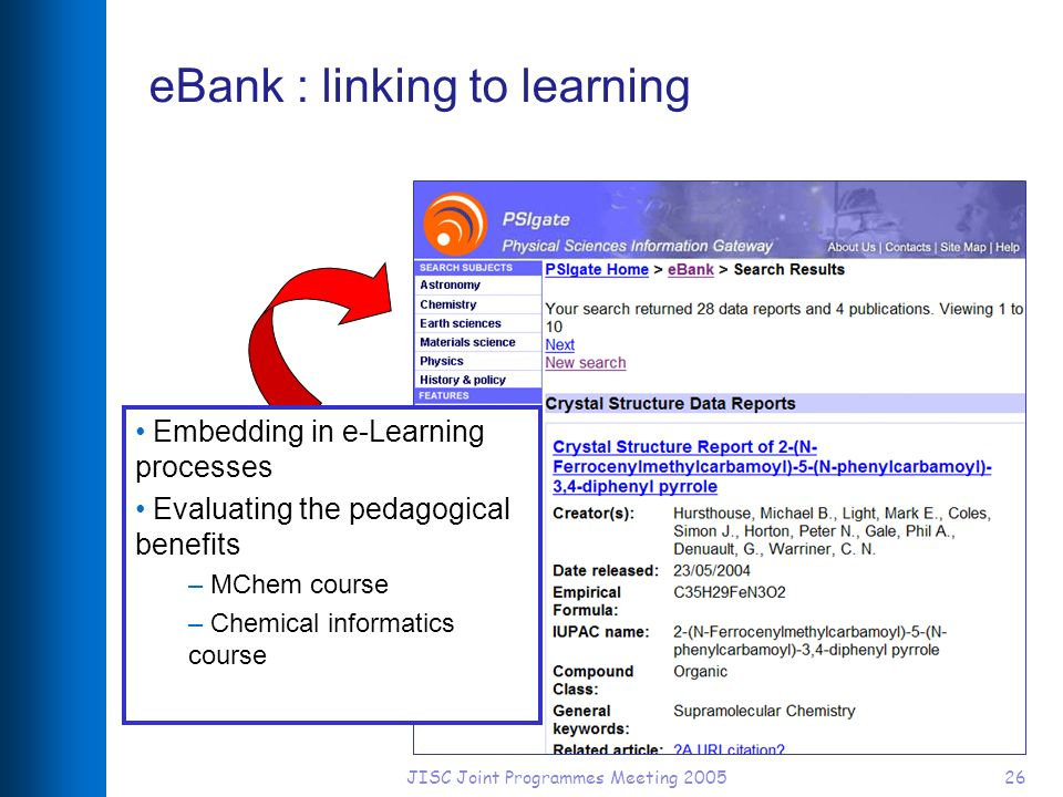JISC Joint Programmes Meeting 200526 eBank : linking to learning Embedding in e-Learning processes Evaluating the pedagogical benefits – MChem course – Chemical informatics course