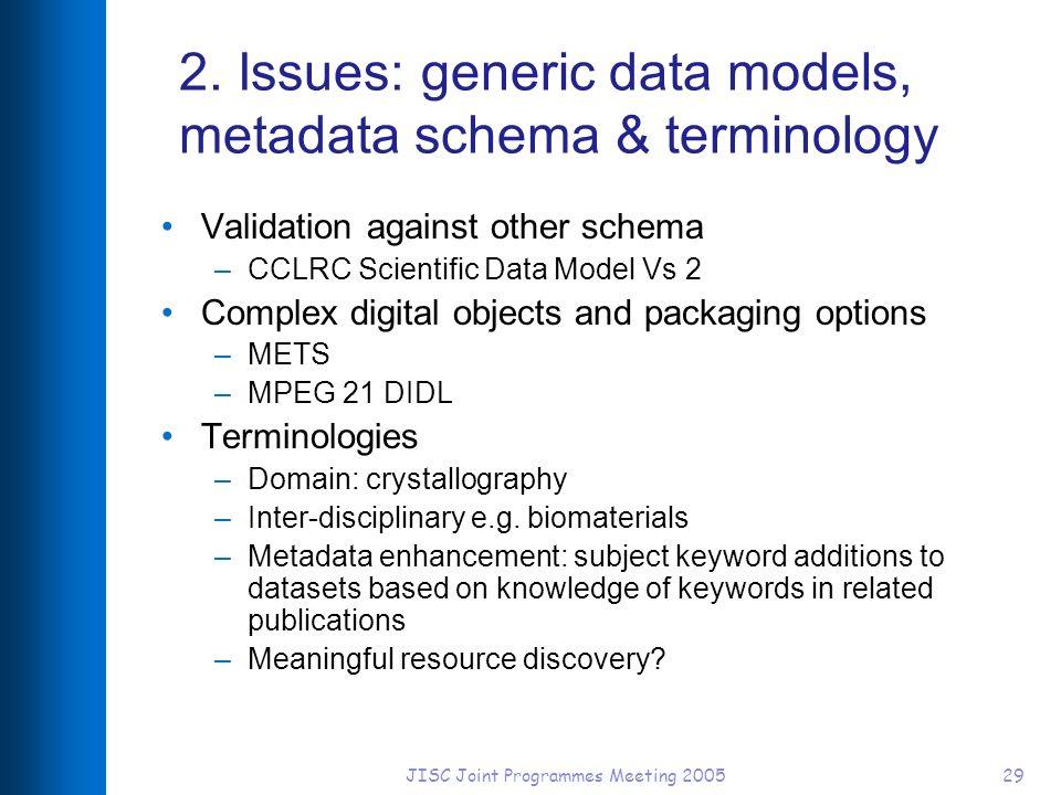 JISC Joint Programmes Meeting 200529 2. Issues: generic data models, metadata schema & terminology Validation against other schema –CCLRC Scientific D