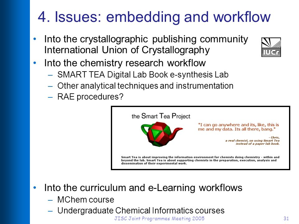 JISC Joint Programmes Meeting 200531 4. Issues: embedding and workflow Into the crystallographic publishing community International Union of Crystallo