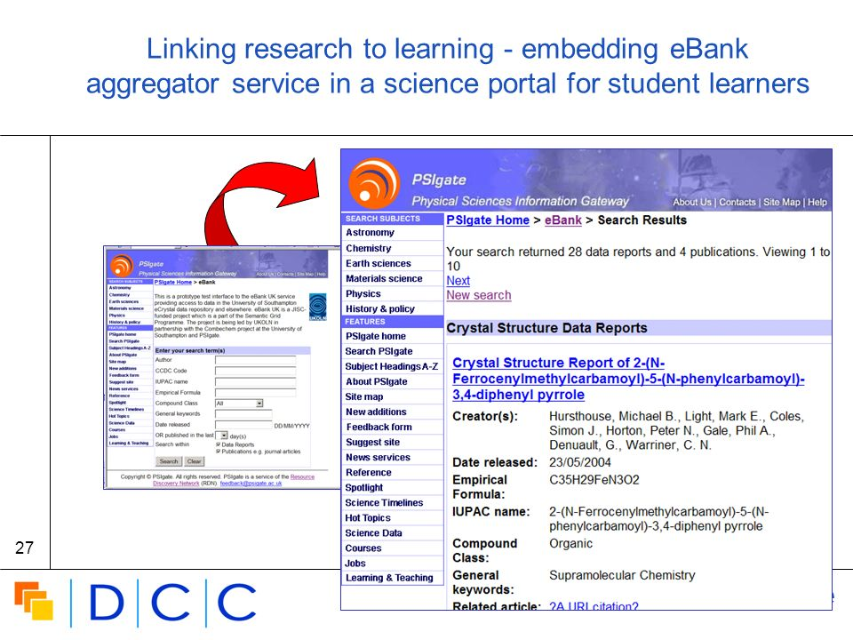 Digital | Curation | Centre 27 Linking research to learning - embedding eBank aggregator service in a science portal for student learners