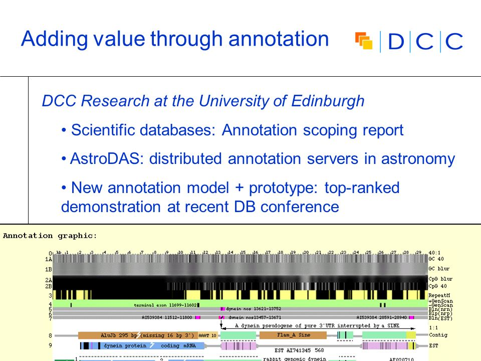 Digital | Curation | Centre 28 Adding value through annotation DCC Research at the University of Edinburgh Scientific databases: Annotation scoping re