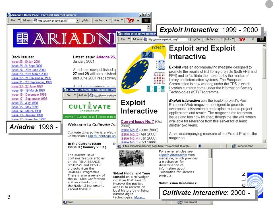 3 Ariadne: 1996 - Exploit Interactive: 1999 - 2000 Cultivate Interactive: 2000 -