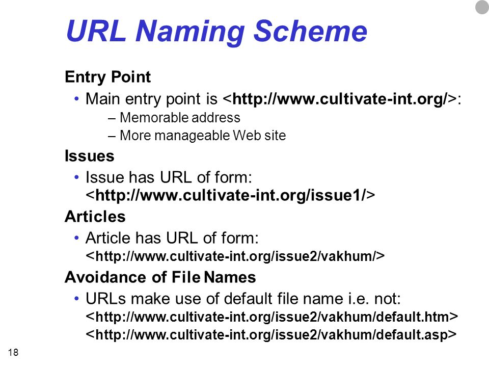 18 URL Naming Scheme Entry Point Main entry point is : –Memorable address –More manageable Web site Issues Issue has URL of form: Articles Article has URL of form: Avoidance of File Names URLs make use of default file name i.e.