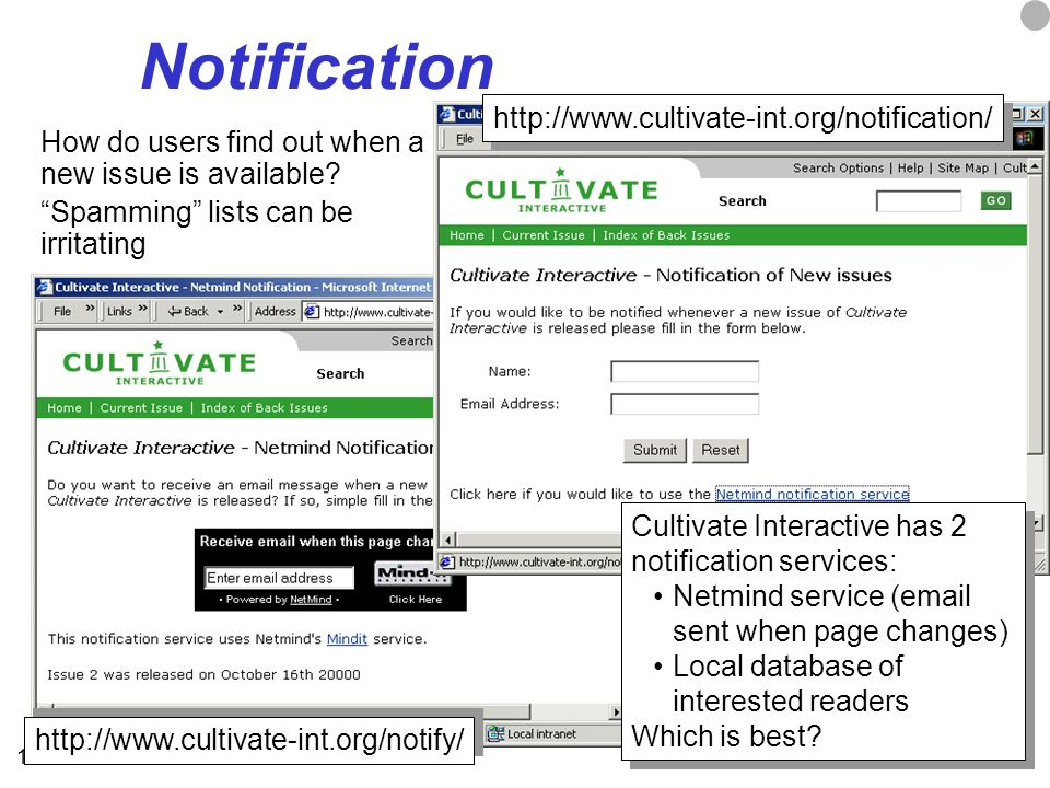 19 Notification How do users find out when a new issue is available? Spamming lists can be irritating http://www.cultivate-int.org/notification/ http: