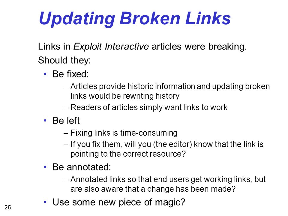 25 Updating Broken Links Links in Exploit Interactive articles were breaking. Should they: Be fixed: –Articles provide historic information and updati