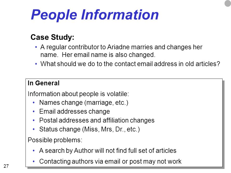 27 People Information Case Study: A regular contributor to Ariadne marries and changes her name.