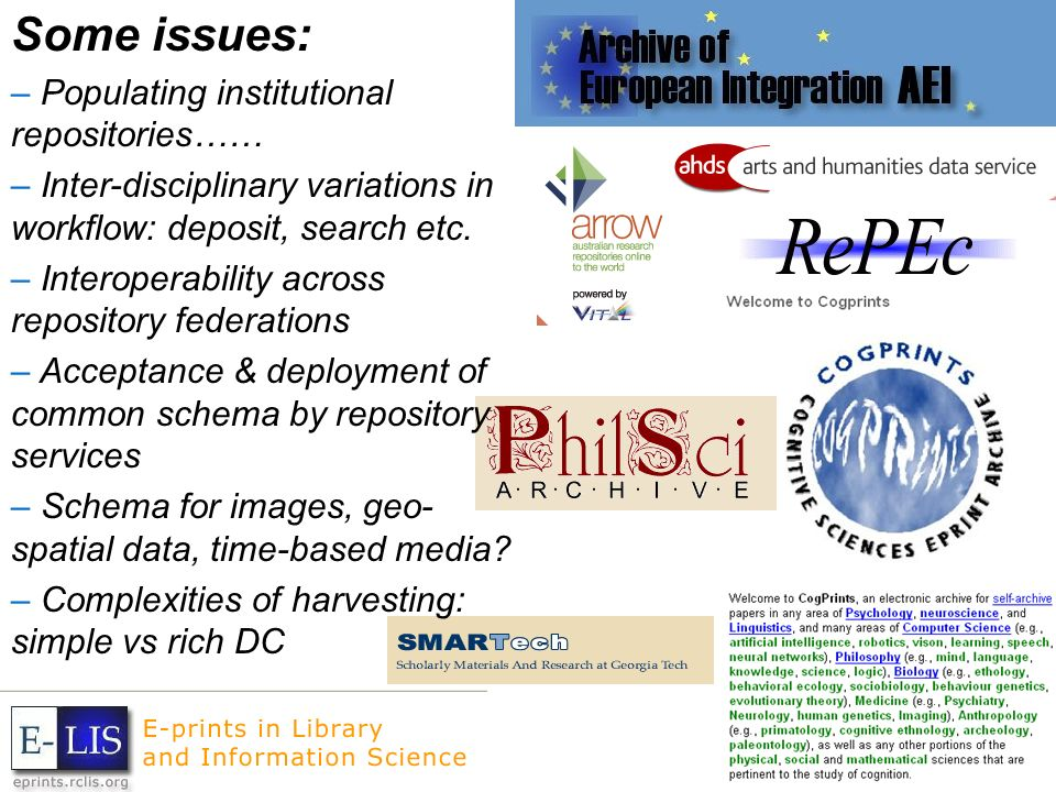 Some issues: – Populating institutional repositories…… – Inter-disciplinary variations in workflow: deposit, search etc.