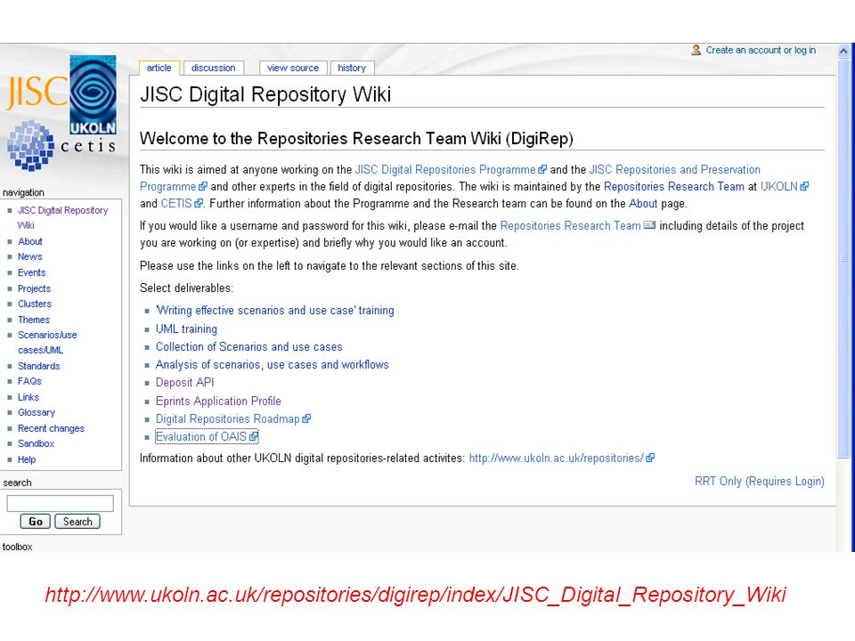 http://www.ukoln.ac.uk/repositories/digirep/index/JISC_Digital_Repository_Wiki