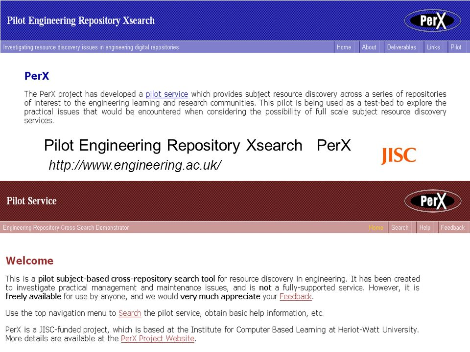 Pilot Engineering Repository Xsearch PerX http://www.engineering.ac.uk/